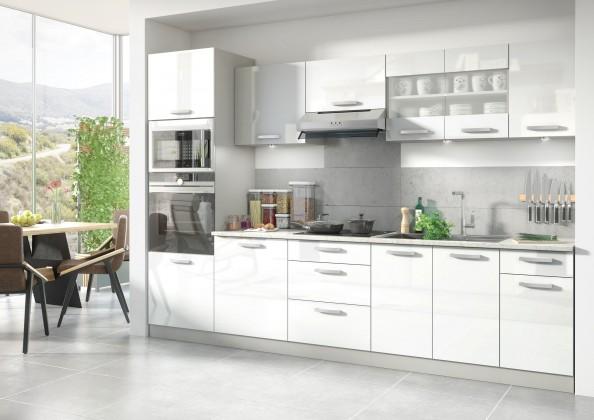 Rovná Kuchyně Vicky - 300 cm (bílá vysoký lesk)