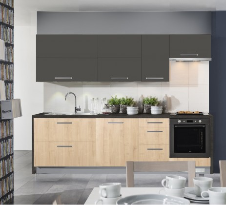 Rovná Kuchyně Zaria - 240 cm (dub arlington/grafit/sanduro antracit)
