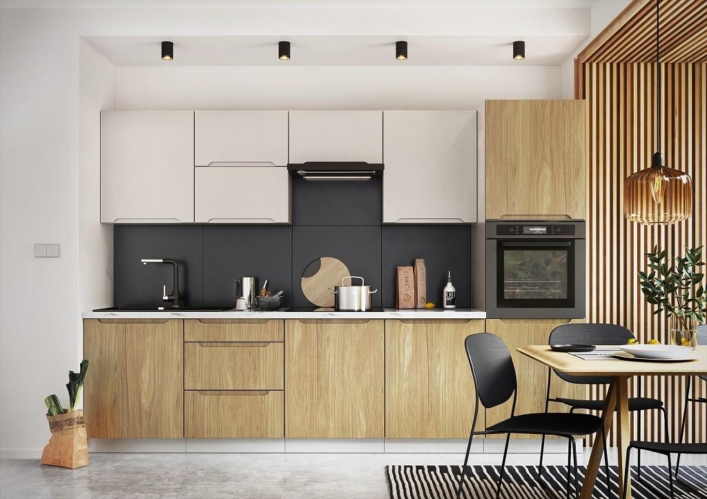 Rovná Kuchyně Zoya 300 cm (šedá/dřevo)