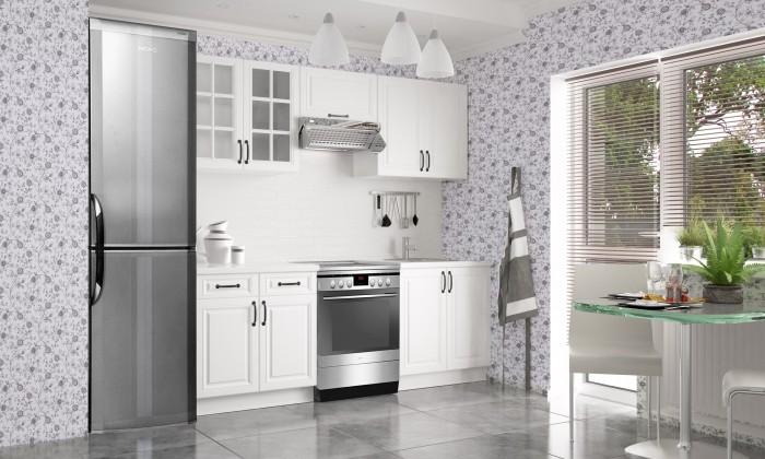Rovná Kuchyňská linka Michelle - 160/220cm (bílá/ bílá/ černá úchytka)