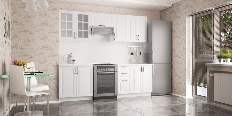 Rovná Kuchyňská linka Michelle - 180/240 cm (bílá/černá úchytka)