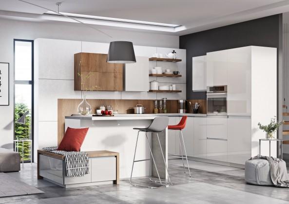 Rovná Kuchyňský blok Elza - 240 cm (bílá/bílá lesk, akácie/PD  tesoro b