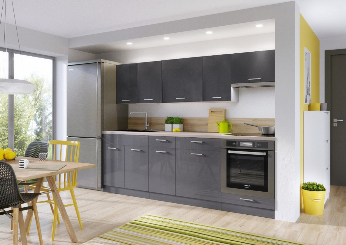 Rovná Kuchyňský blok Modern Lux - 240 cm (šedá lesk)