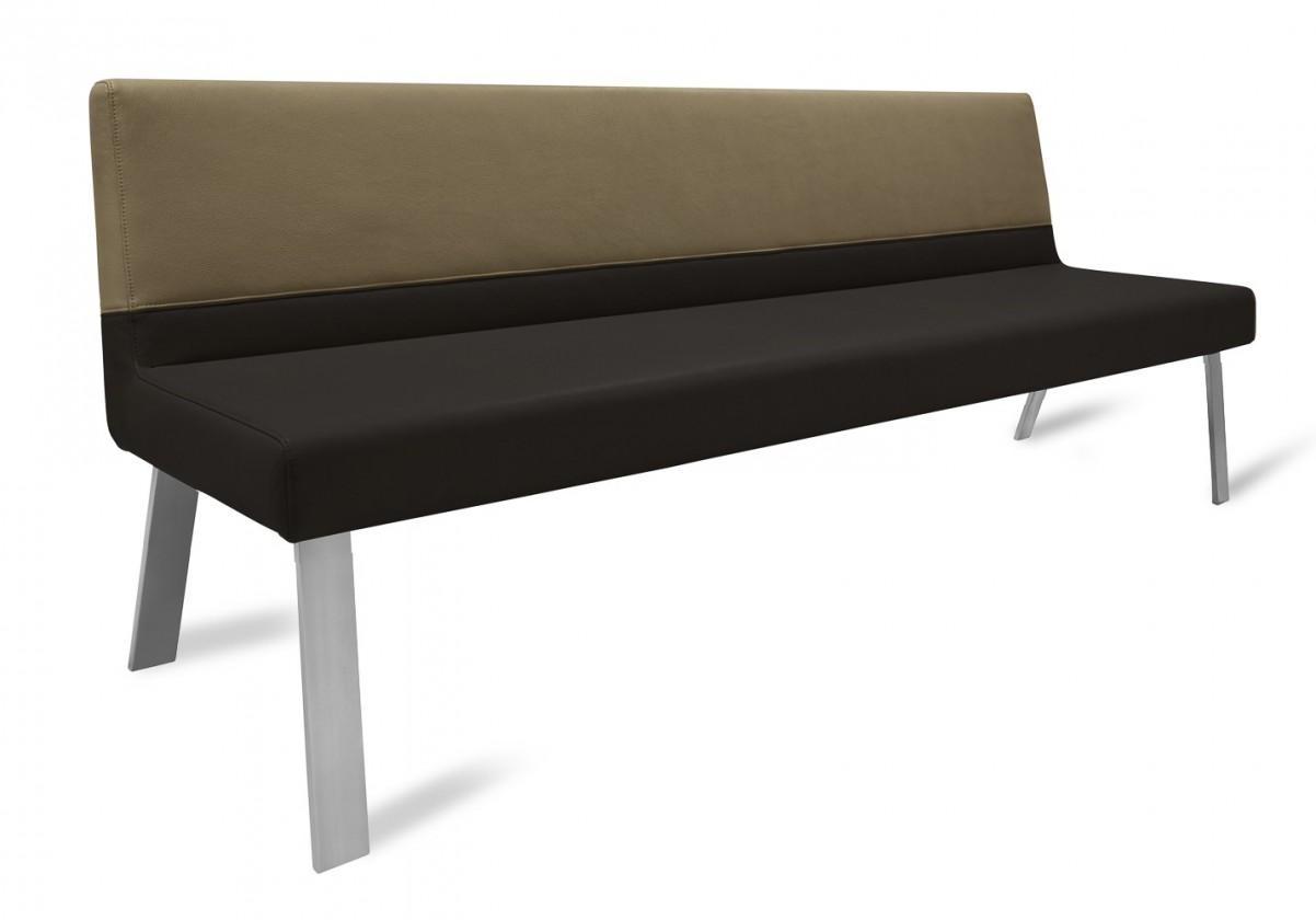 Rovná lavice Sam 180  (4 nohy/eko kůže bull černá/montana cappucino)