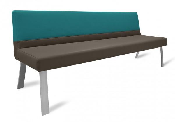 Rovná lavice Sam 180  (4 nohy/eko kůže bull mocca/montana potrolejová)