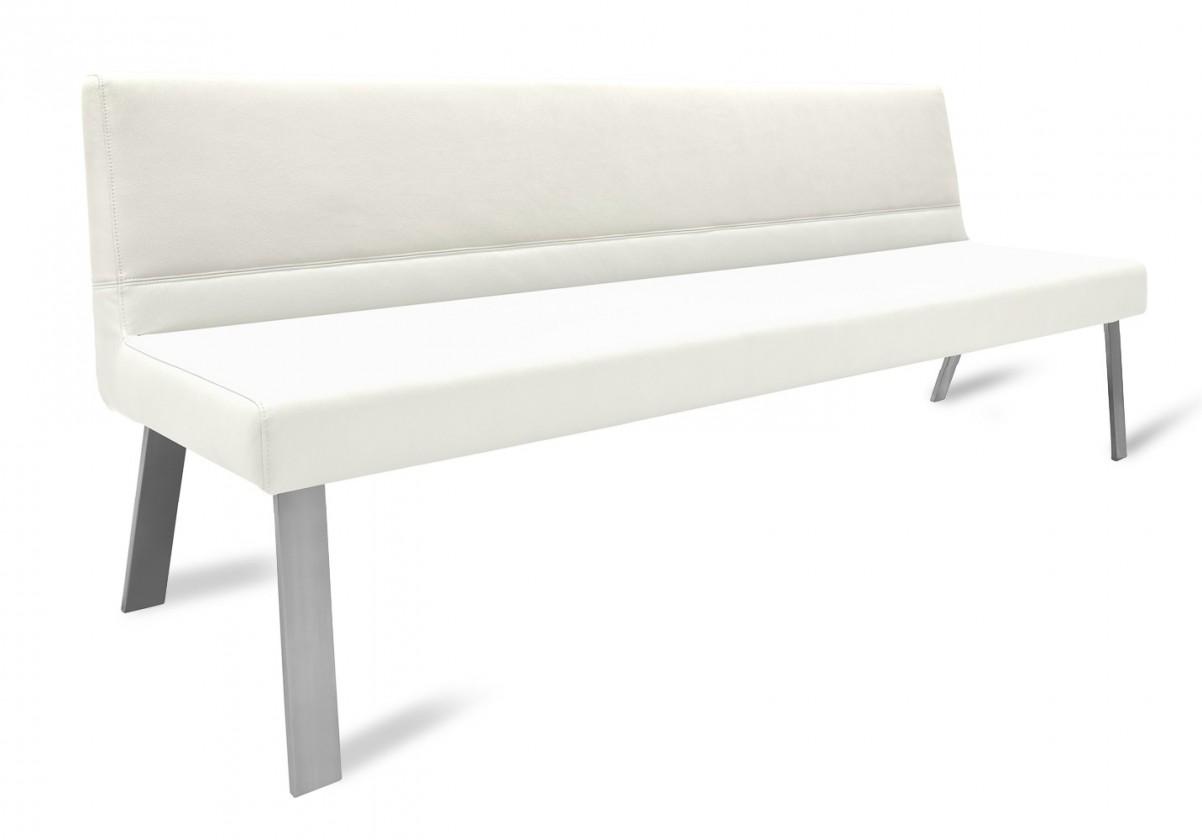 Rovná lavice Sam 180  (4 nohy/eko kůže hawaii bílá)