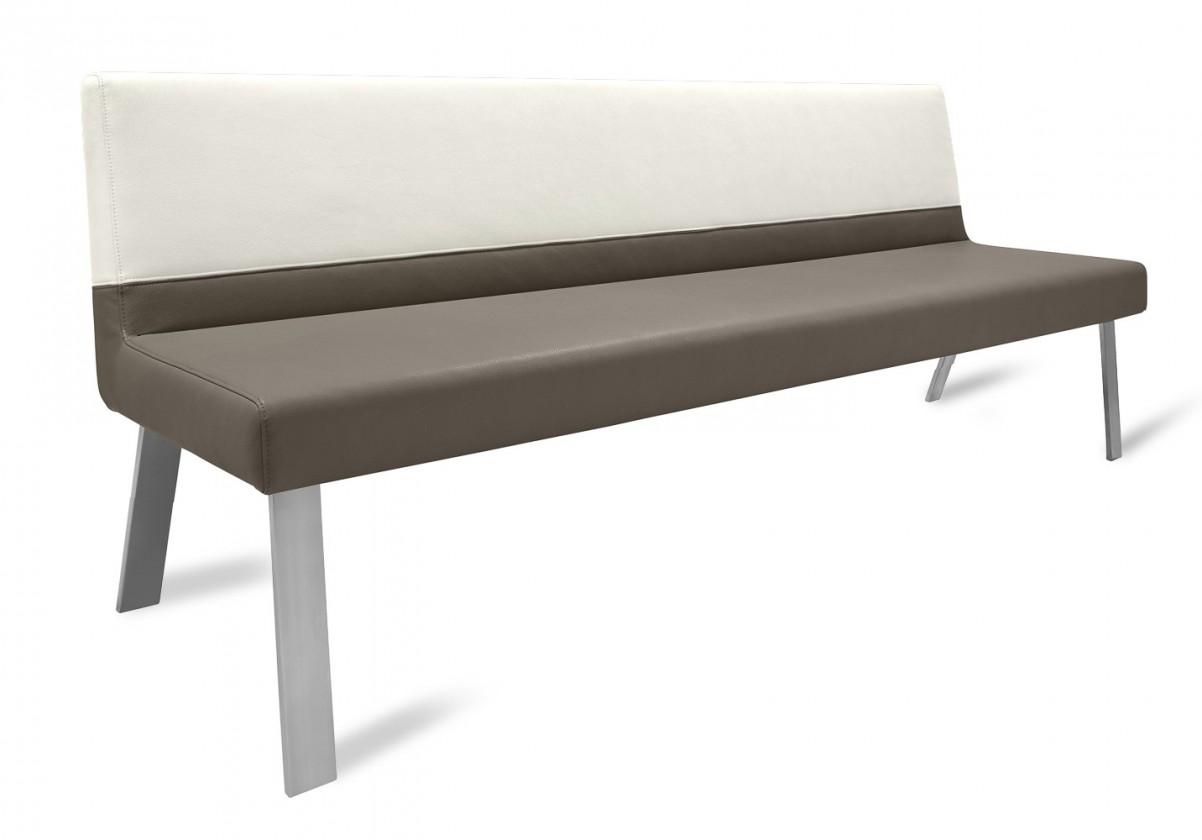 Rovná lavice Sam 180  (4 nohy/eko kůže hawaii světle hnědá/bílá)