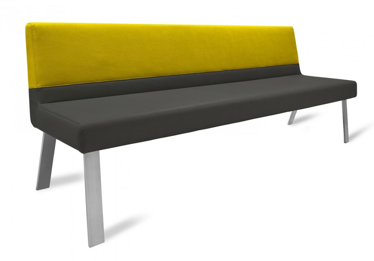 Rovná lavice Sam 180  (4 nohy/eko kůže vintage antracit/star zlatá)