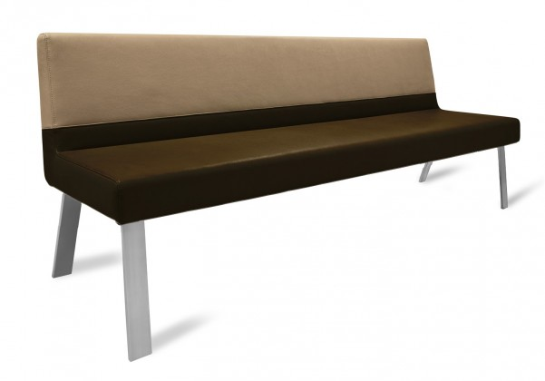 Rovná lavice Sam 180  (4 nohy/eko kůže vintage hnědá/star kaki)