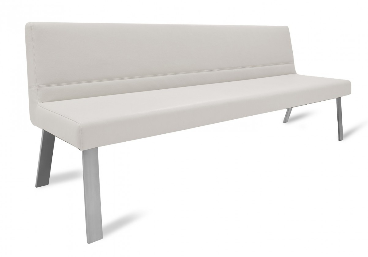 Rovná lavice Sam 180  (4 nohy/kůže nebraska bílá)