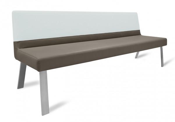 Rovná lavice Sam 180  (4 nohy/kůže nebraska hnědá/bílá)