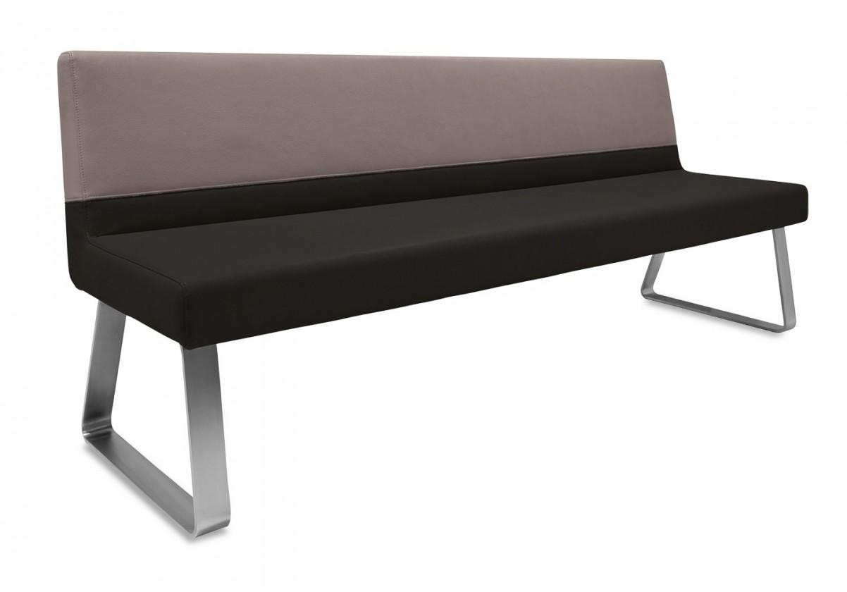 Rovná lavice Sam 180  (kluzáky/eko kůže bull černá/montana cappucino)