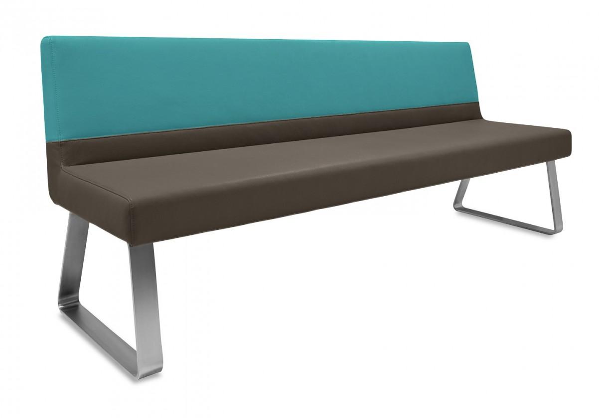 Rovná lavice Sam 180  (kluzáky/eko kůže bull mocca/montana potrolejová)