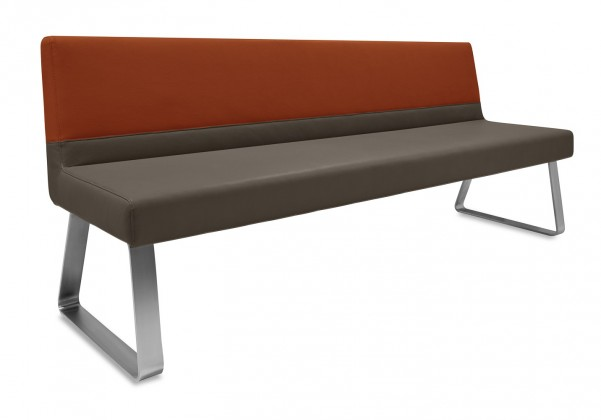 Rovná lavice Sam 180  (kluzáky/eko kůže bull mocca/montana rezavá)