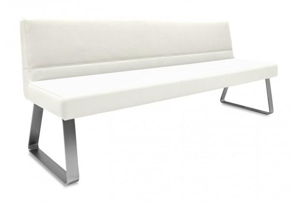 Rovná lavice Sam 180  (kluzáky/eko kůže hawaii bílá)