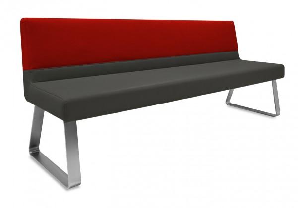 Rovná lavice Sam 180  (kluzáky/eko kůže vintage antracit/star bordó)