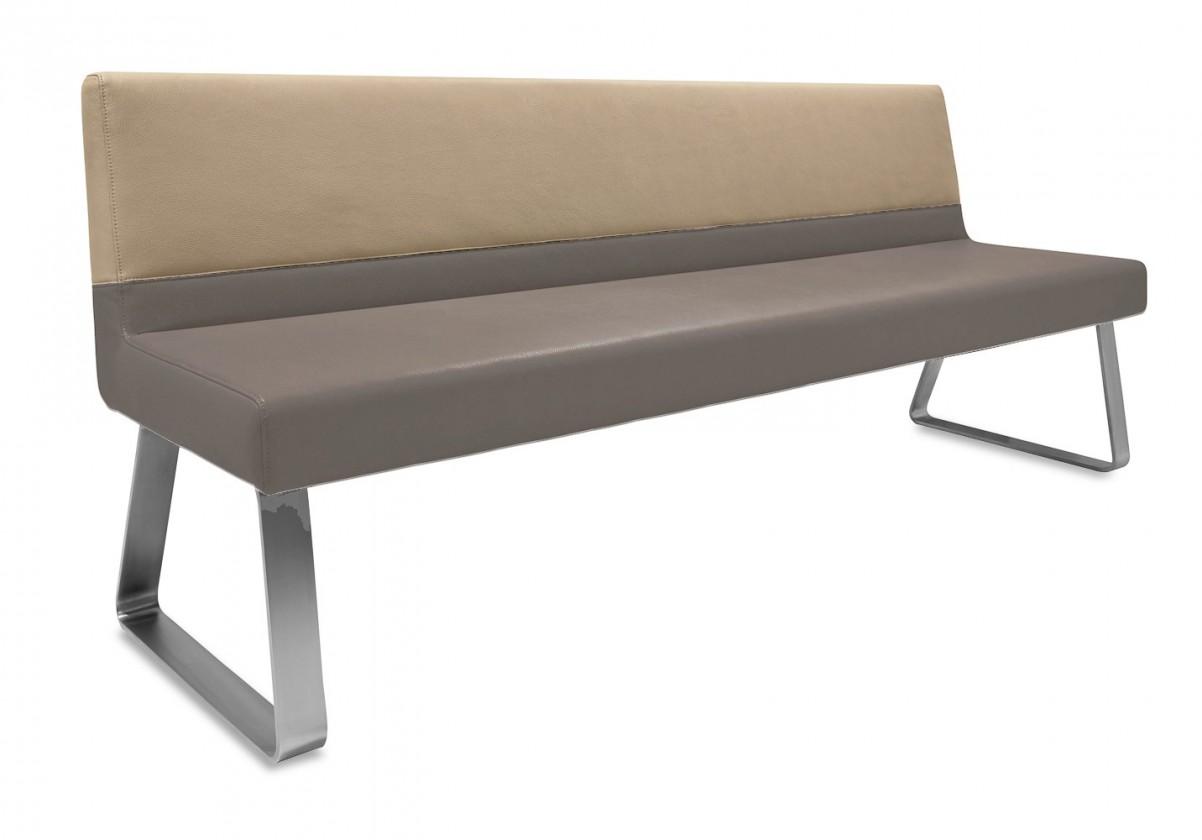 Rovná lavice Sam 180  (kluzáky/eko kůže vintage hnědá/star kaki)
