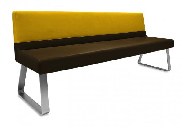Rovná lavice Sam 180  (kluzáky/eko kůže vintage hnědá/star zlatá)
