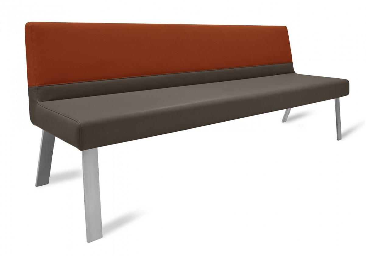 Rovná lavice Sam 220  (4 nohy/eko kůže bull mocca/montana rezavá)