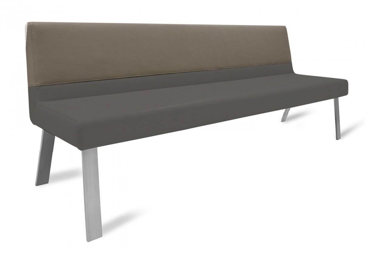 Rovná lavice Sam 220  (4 nohy/eko kůže hawaii černá/světle hnědá)