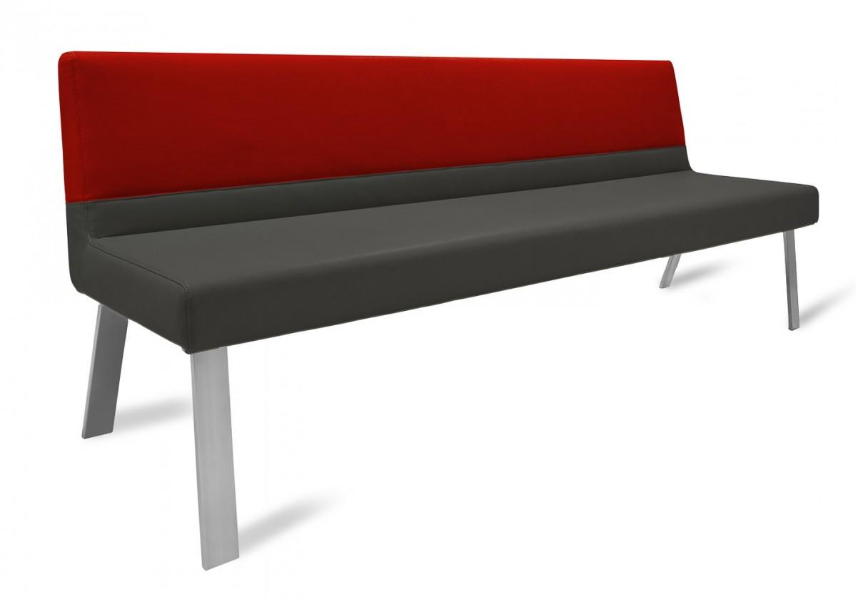 Rovná lavice Sam 220  (4 nohy/eko kůže vintage antracit/star bordó)