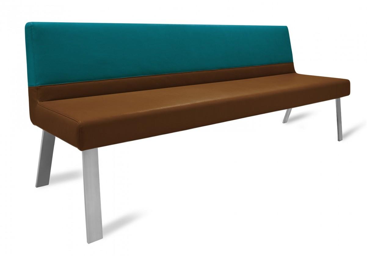 Rovná lavice Sam 220  (4 nohy/eko kůže vintage cognac/star modrá)