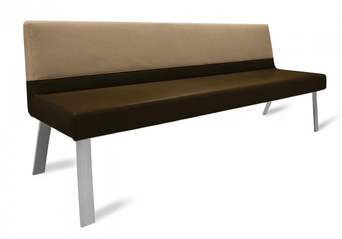 Rovná lavice Sam 220  (4 nohy/eko kůže vintage hnědá/star kaki)