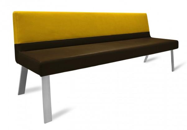 Rovná lavice Sam 220  (4 nohy/eko kůže vintage hnědá/star zlatá)