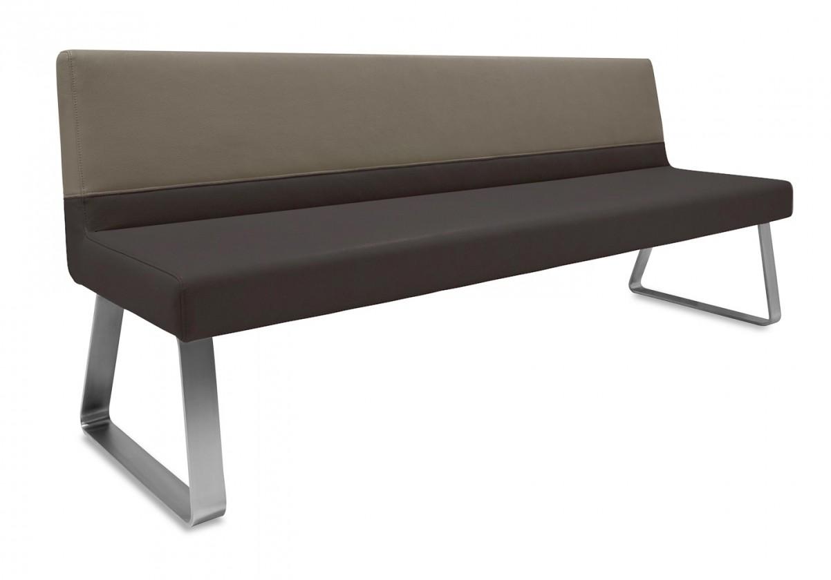 Rovná lavice Sam 220  (kluzáky/eko kůže hawaii černá/světle hnědá)