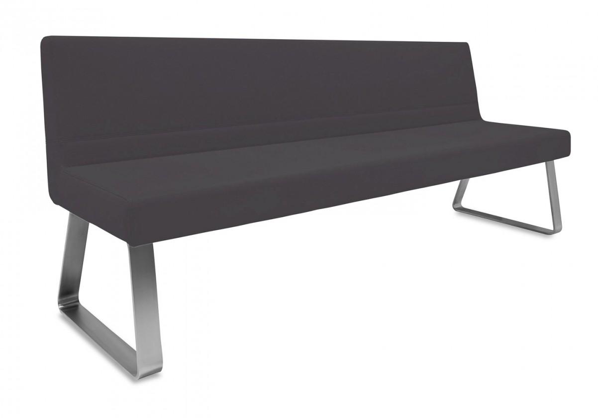 Rovná lavice Sam 220  (kluzáky/eko kůže hawaii černá)