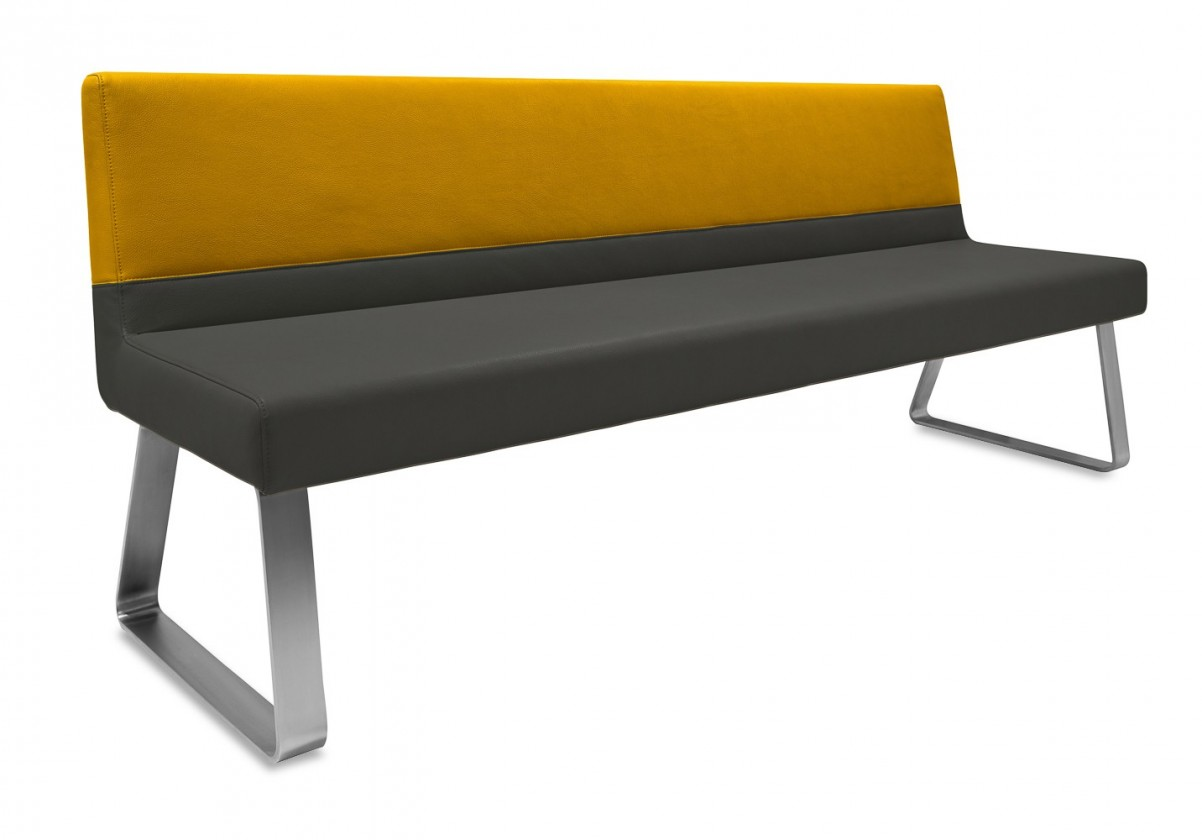 Rovná lavice Sam 220  (kluzáky/eko kůže vintage antracit/star zlatá)