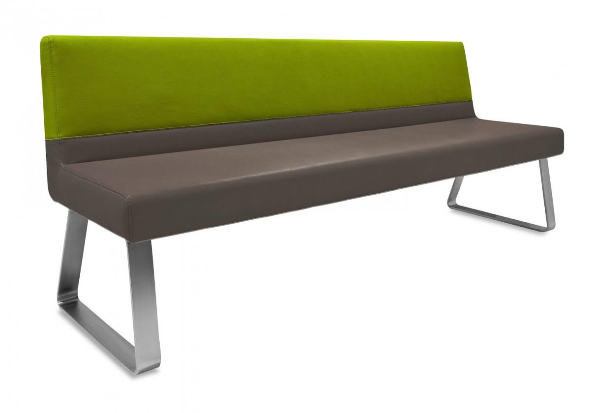 Rovná lavice Sam 220  (kluzáky/eko kůže vintage hnědá/star olivová)