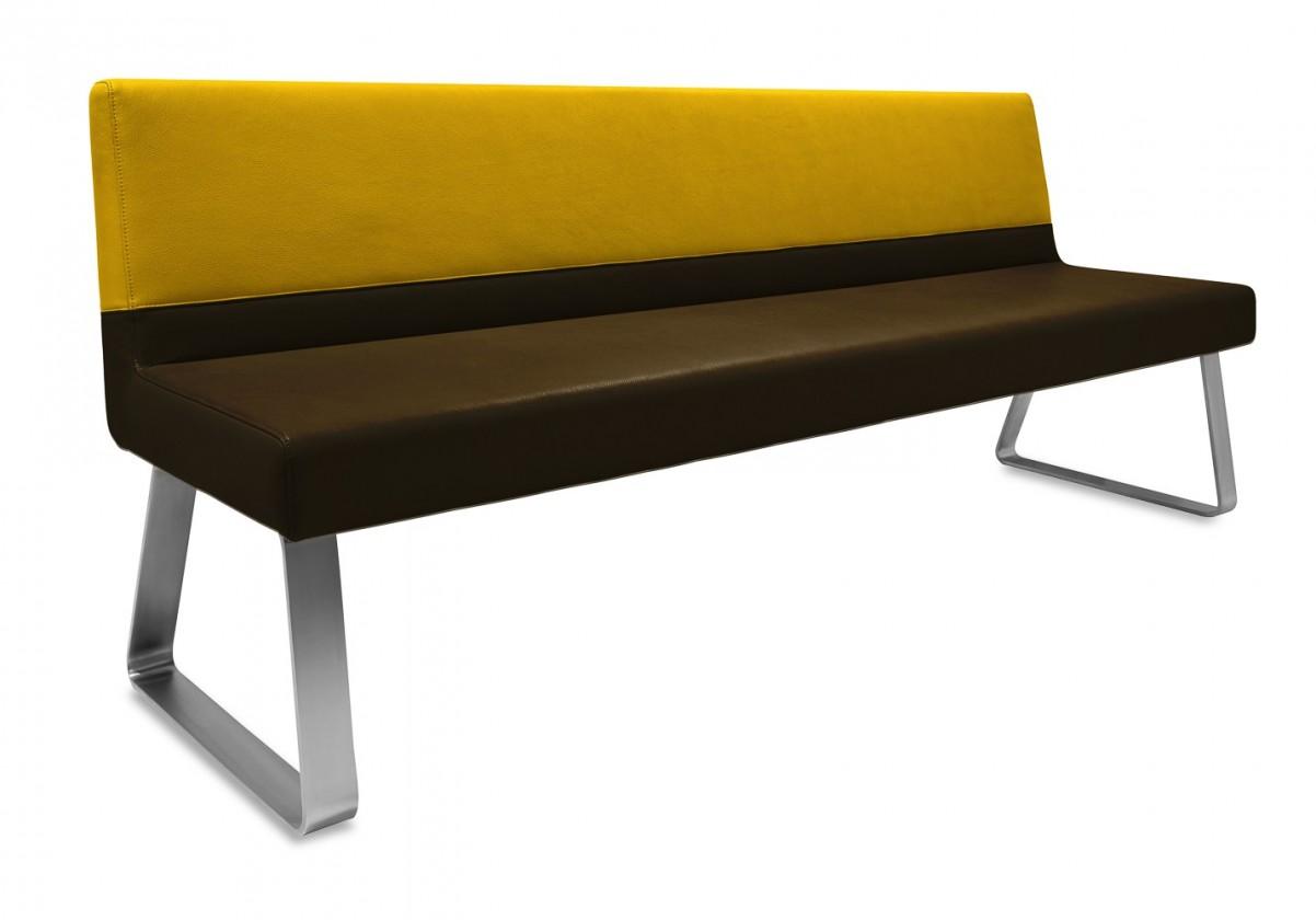 Rovná lavice Sam 220  (kluzáky/eko kůže vintage hnědá/star zlatá)