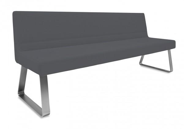 Rovná lavice Sam 220  (kluzáky/kůže nebraska černá)
