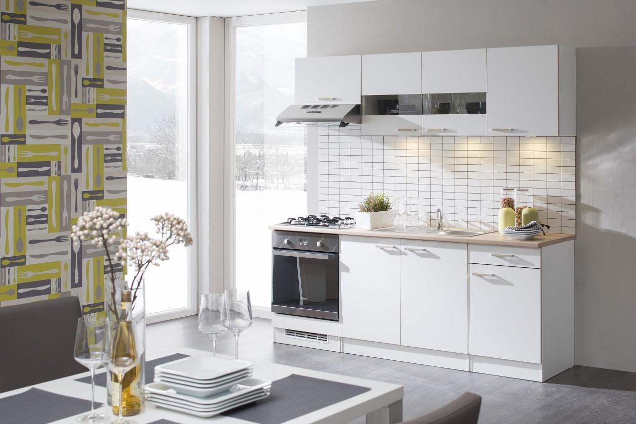 Rovná Lela - Kuchyňský blok 210 B (bílá/bardolino/dub bardolino)