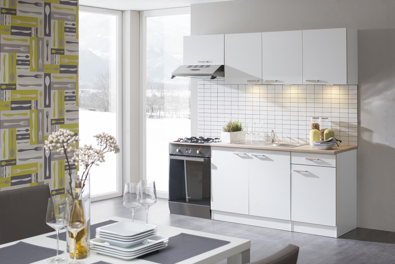 Rovná Lela - Kuchyňský blok 210 C (bílá/bardolino/dub bardolino)