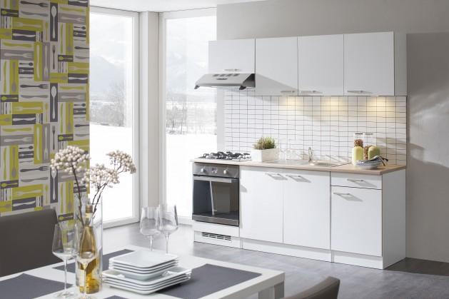 Rovná Lela - Kuchyňský blok 210 D (bílá/bardolino/dub bardolino)
