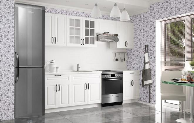 Rovná Michelle - Kuchyňský blok, 200/260 cm (bílá,černá úchytka)