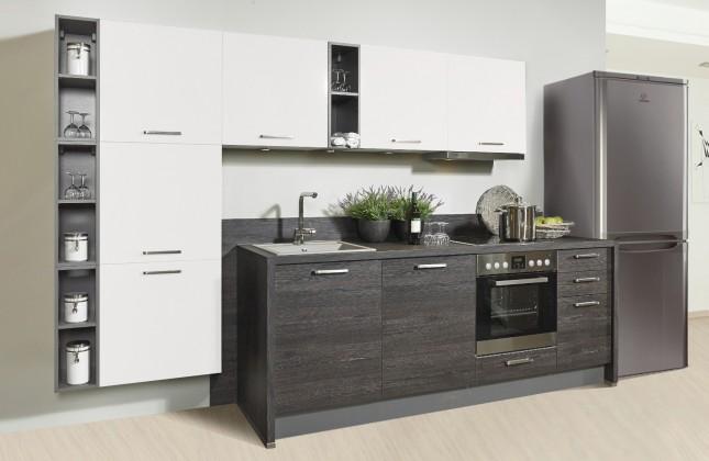 Rovná Misano - Kuchyně 280/320cm (bílá, dub černý)