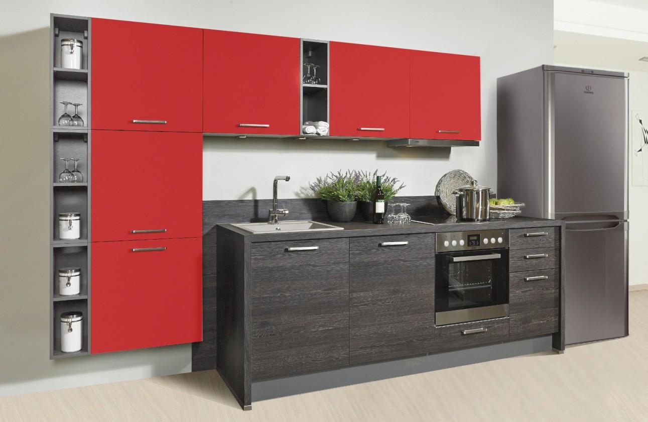 Rovná Misano - Kuchyně 280/320cm (červená, dub černý)