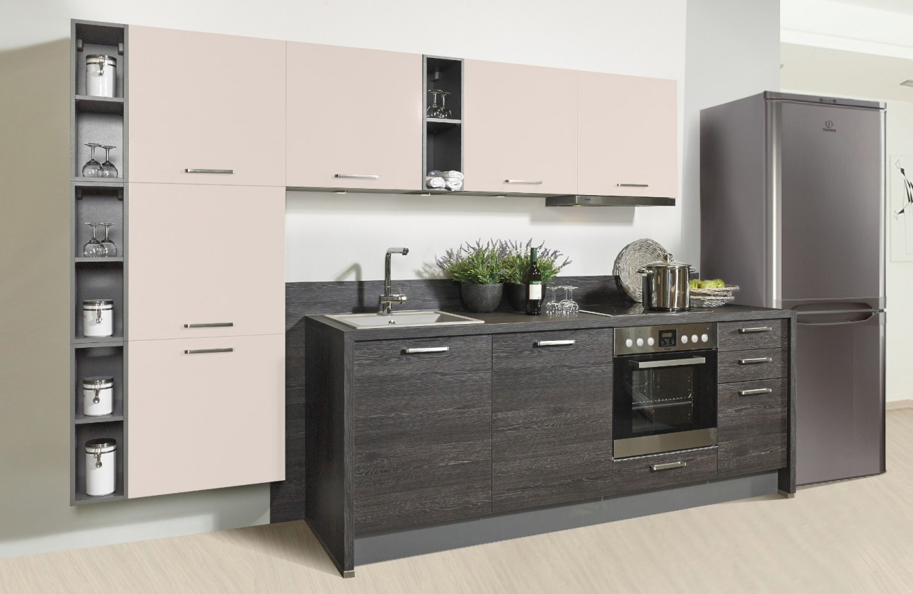 Rovná Misano - Kuchyně 280/320cm (magnolie, dub černý)