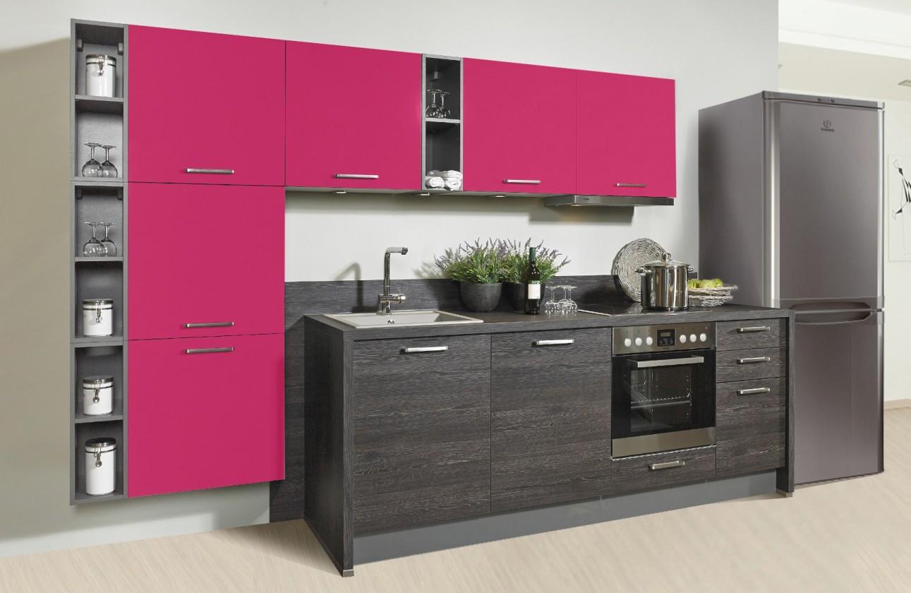 Rovná Misano - Kuchyně 280/320cm (růžová, dub černý)