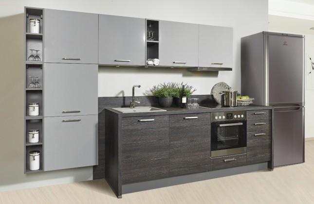 Rovná Misano - Kuchyně 280/320cm (šedá, dub černý)