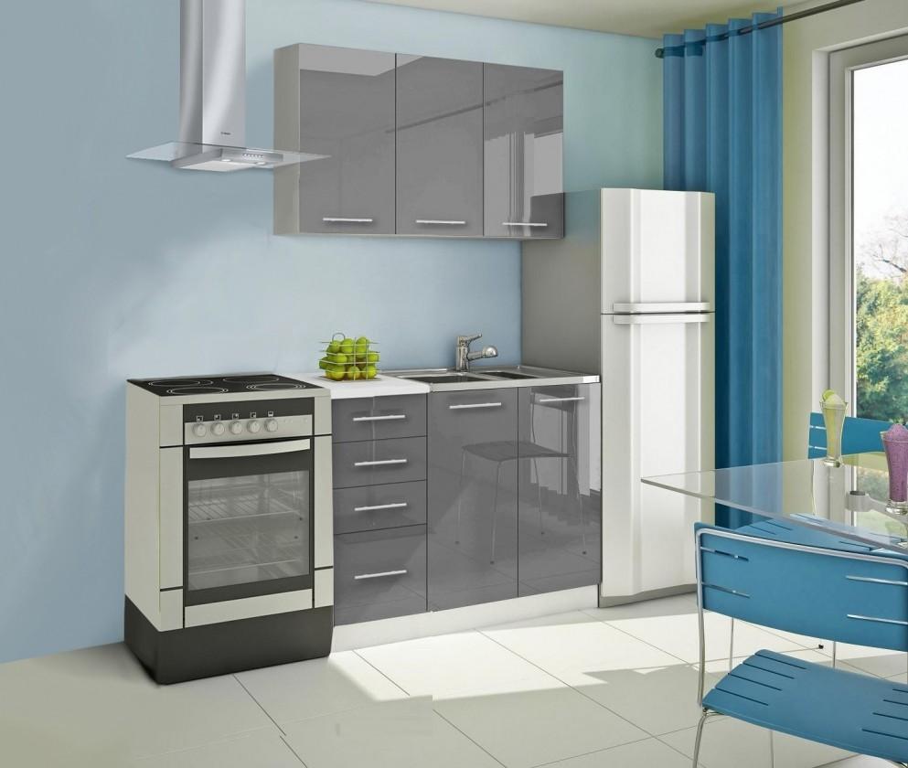 Rovná Mondeo - Kuchyňský blok A, 120 cm (šedá, lesk)
