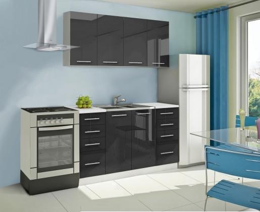 Rovná Mondeo - Kuchyňský blok A, 160 cm (černá, lesk)