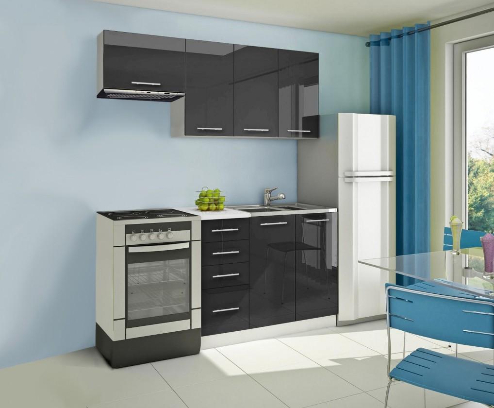 Rovná Mondeo - Kuchyňský blok A, 180 cm (černá, lesk)