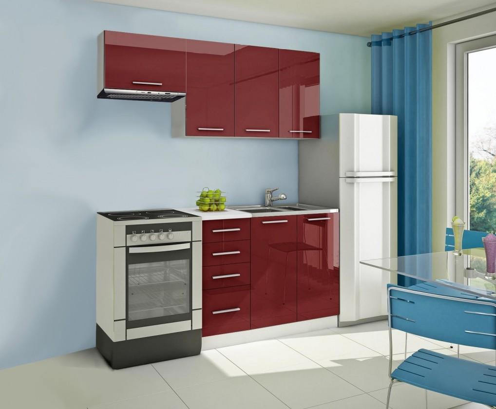 Rovná Mondeo - Kuchyňský blok A, 180 cm (červená, lesk)