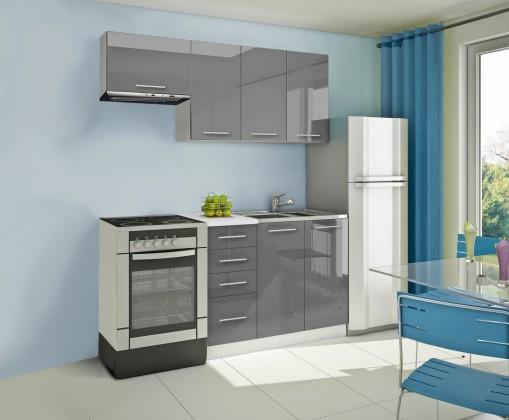 Rovná Mondeo - Kuchyňský blok A, 180 cm (šedá, lesk)