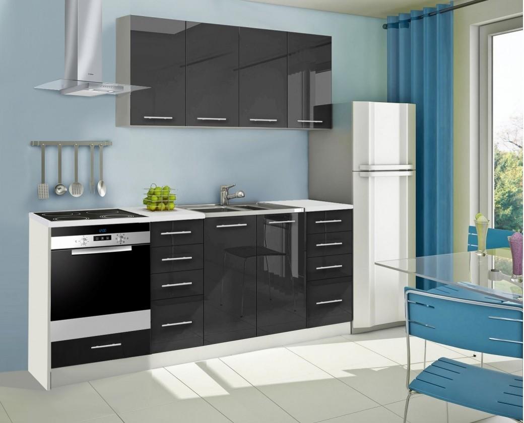 Rovná Mondeo - Kuchyňský blok A, 220 cm (černá, lesk)