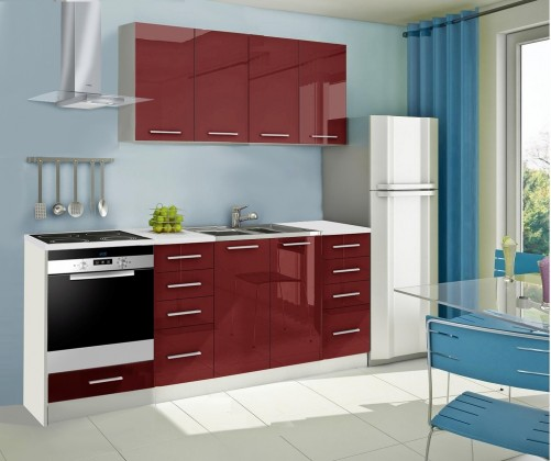 Rovná Mondeo - Kuchyňský blok A, 220 cm (červená, lesk)